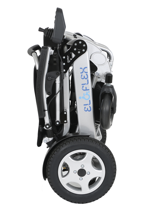 Eloflex is a portable and foldable electric wheelchair with low weight.